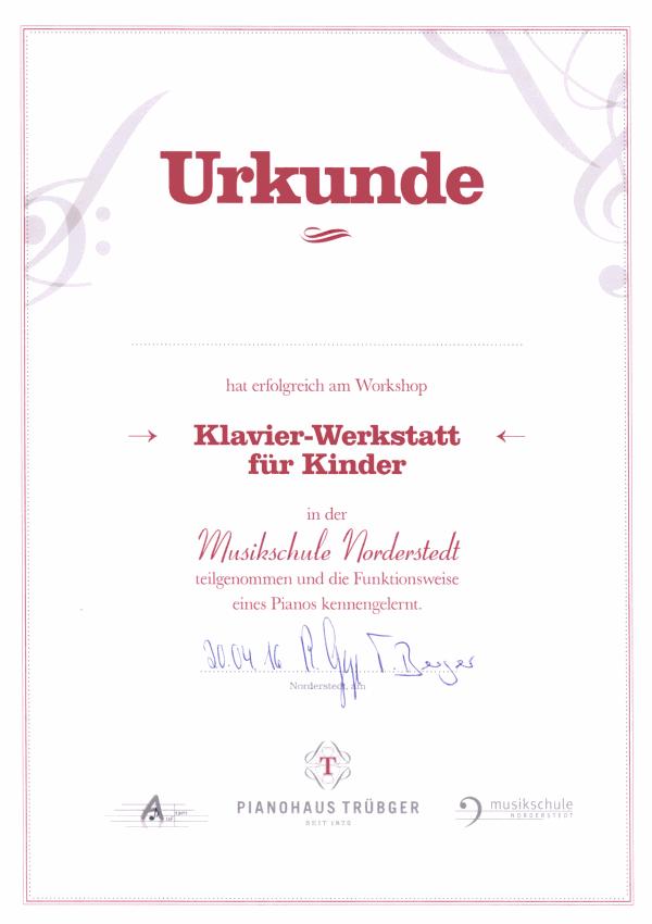 Urkunde Klavierwerkstatt für Kinder